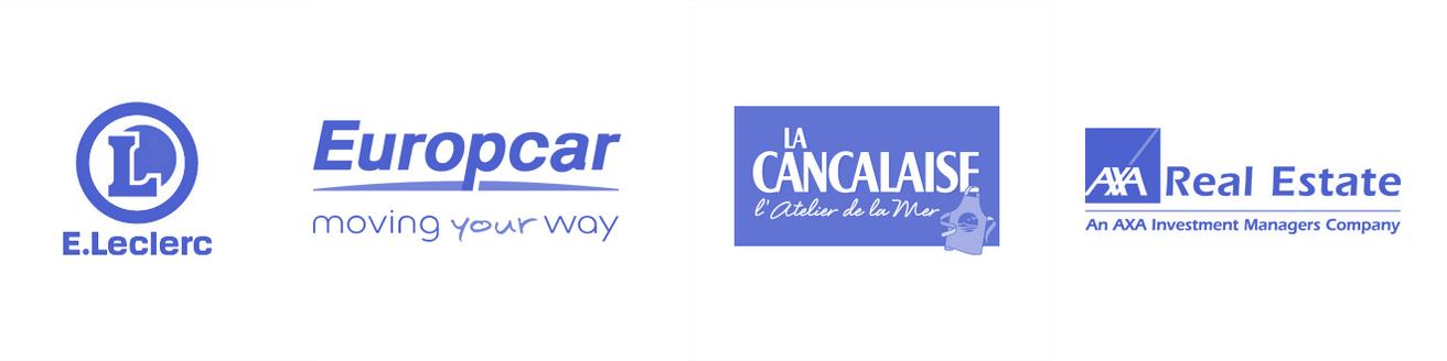 logos leclerc europcar la cancalaise axa real estate