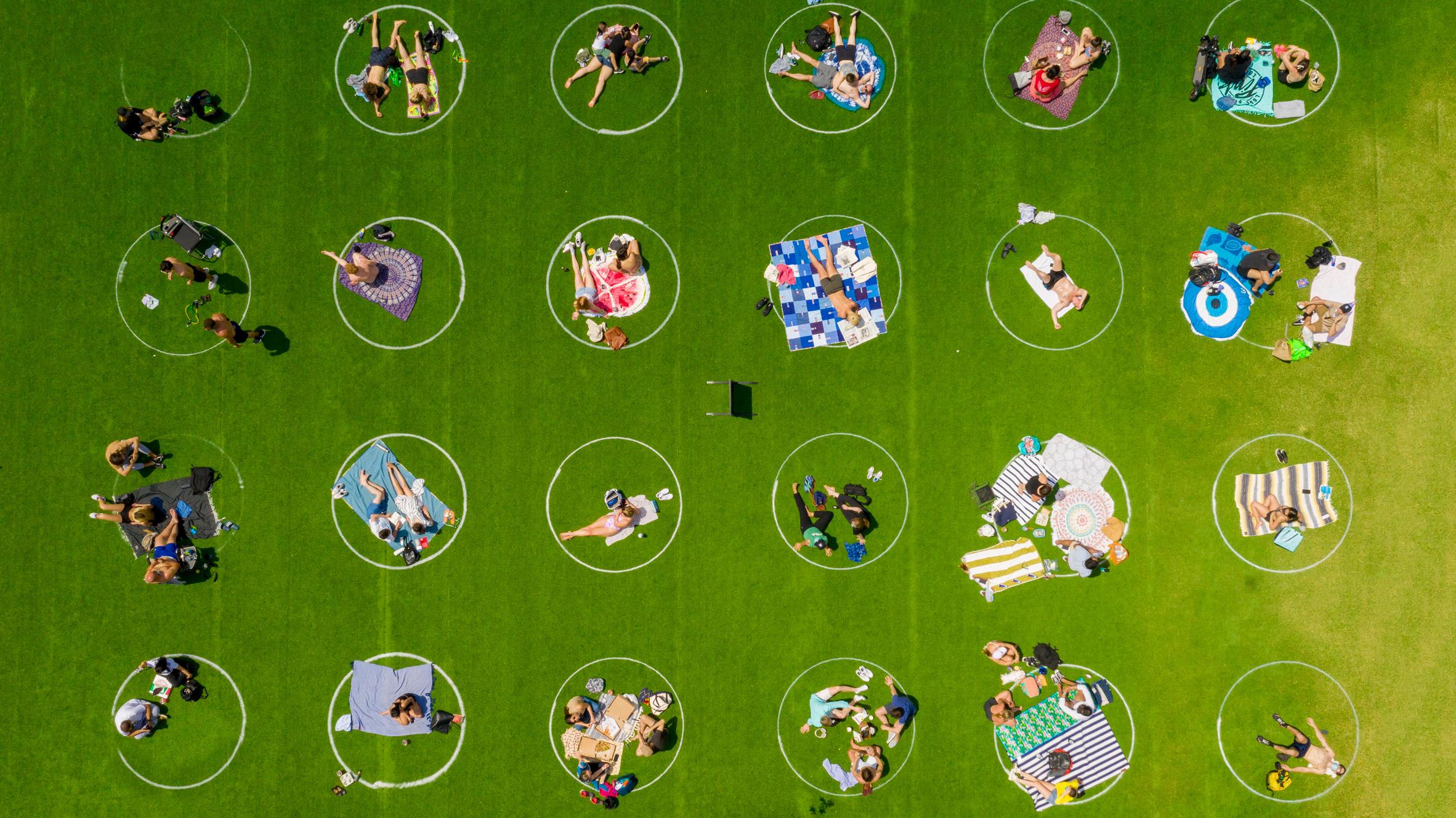 fairly coronadesign cercles distanciation physique domino park