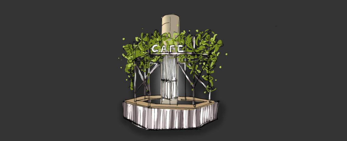 fairly cafe vegetal échafaudage croquis